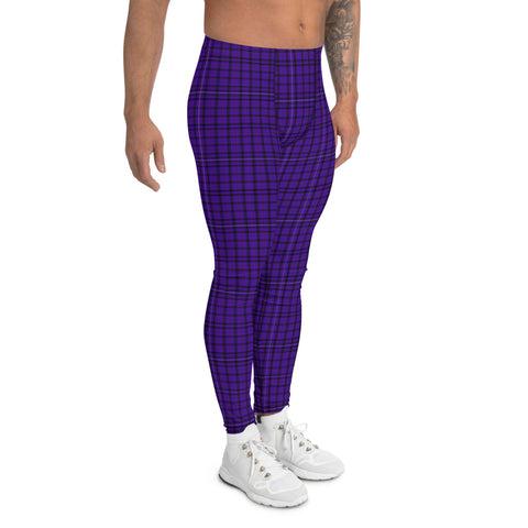 Purple Plaid Print Men's Leggings-Heidikimurart Limited -Heidi Kimura Art LLC Purple Plaid Print Men's Leggings, Tartan Preppy Scottish Style Sexy Meggings Men's Workout Gym Tights Leggings, Men's Compression Tights Pants - Made in USA/ EU/ MX (US Size: XS-3XL)