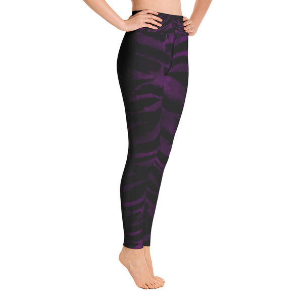 Purple Tiger Striped Women's Leggings, Animal Print Sports Long Yoga Pants- Made in USA/EU-Leggings-Heidi Kimura Art LLCPurple Tiger Women's Leggings, Purple Animal Tiger Striped Workout Fitted Women's Leggings Sports Long Yoga Pants With Pockets - Made in USA/EU (US Size: XS-XL)