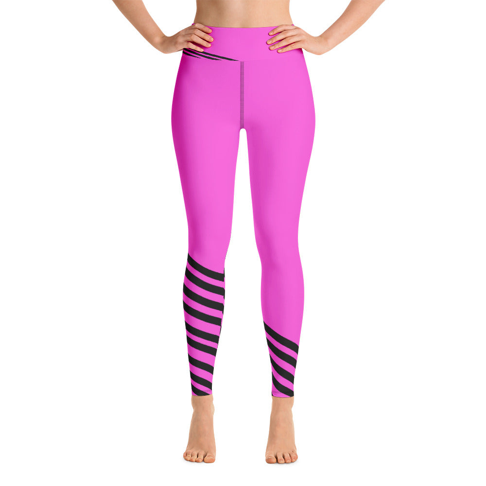 Pink Black Diagonal Striped Yoga Leggings/ Long Yoga Pants/ Tights - Made in USA-legging-XS-Heidi Kimura Art LLC Pink Black Striped Leggings, Pink Black Diagonal Striped Yoga Leggings/ Long Yoga Pants/ Tights - Made in USA/EU (US Size: XS-XL)