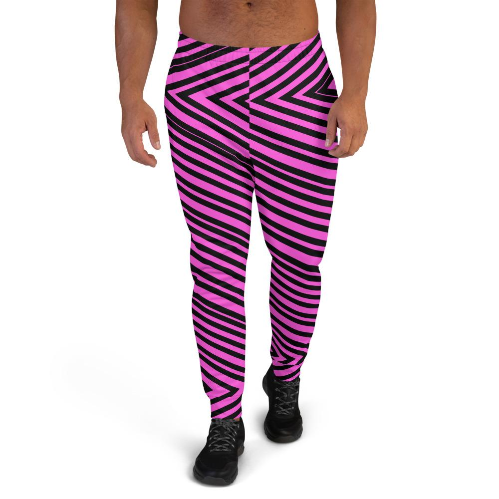 Pink Black V Shape Stripe Print Designer Men's Joggers Jogging Bottoms Pants- Made in EU-Men's Joggers-XS-Heidi Kimura Art LLC