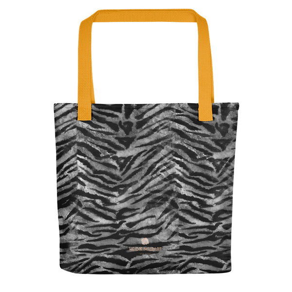 "Gray Tiger Striped Print Tote Bag, Grey Animal Print 15"" x 15"" Tote Bag-Made in USA/EU-Tote Bag-Yellow-Heidi Kimura Art LLC"