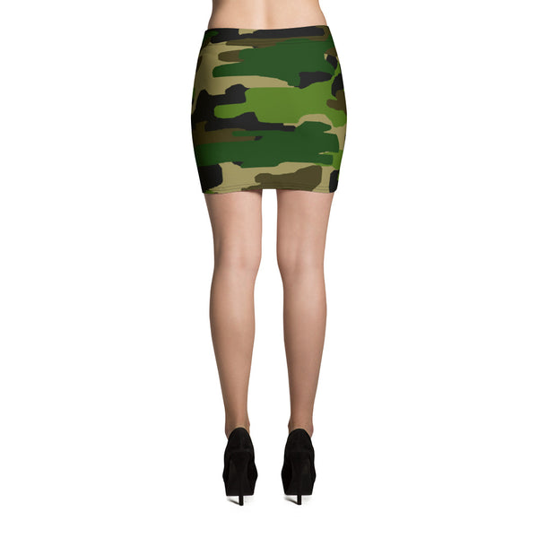 Green Camo Mini Skirt, Camouflage Military Army Print Women's Skirt - Made in USA/EU-Skirts-Heidi Kimura Art LLC
