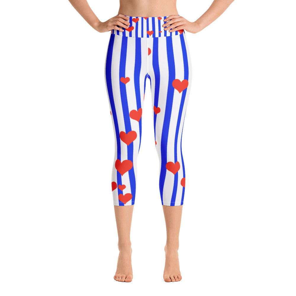 Blue Striped Women's Capri Leggings, American Patriotic Leggings w/ Pockets - Made in USA/EU-Capri Yoga Pants-XS-Heidi Kimura Art LLC