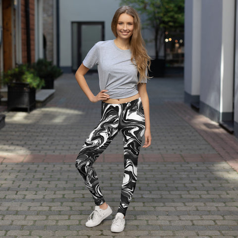 Black Marbled Casual Leggings, Marble Print Women's Tights-Made in USA/EU-Heidi Kimura Art LLC-Heidi Kimura Art LLC Black White  Marbled Casual Leggings, Abstract Marble Print