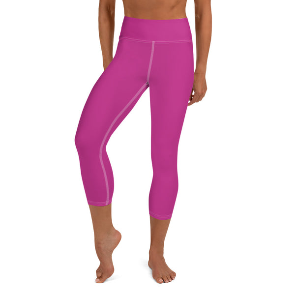 Hot Pink Bridesmaid Print Premium Yoga Capri Leggings-Made in USA-Capri Yoga Pants-XS-Heidi Kimura Art LLC