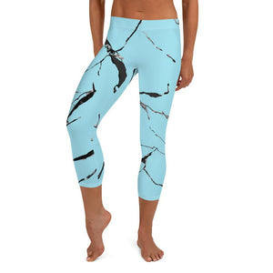 Light Blue Marble Print Women's Dressy Fashion Capri Leggings Pants- Made in USA/ EU-capri leggings-XS-Heidi Kimura Art LLC