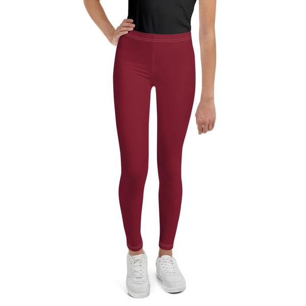 Burgundy Red Solid Color Print Premium Youth Leggings Gym Tights - Made in USA/EU-Youth's Leggings-8-Heidi Kimura Art LLC