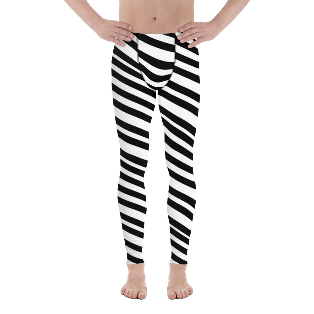 Black White Diagonally Striped Meggings, Men's Athletic Running Leggings-Made in USA/E-Men's Leggings-XS-Heidi Kimura Art LLC