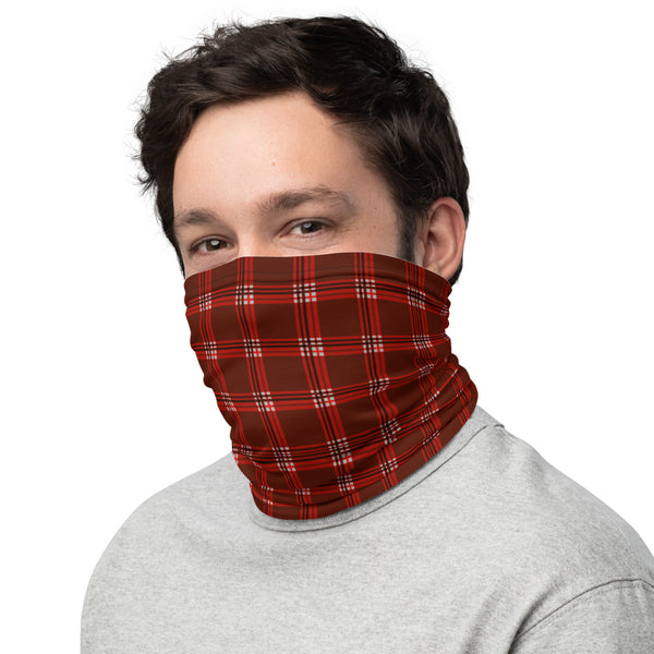 Red Plaid Print Neck Gaiter, Face Mask Shield, Luxury Premium Quality Cool And Cute One-Size Reusable Washable Scarf Headband Bandana - Made in USA/EU, Face Neck Warmers, Non-Medical Breathable Face Covers, Neck Gaiters