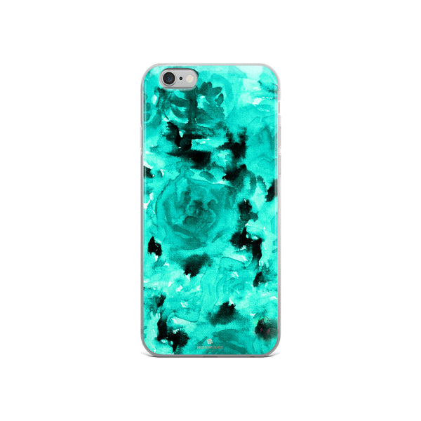 Teal Blue Rose Floral, iPhone X | XS | XR | XS Max | 8 | 8+ | 7| 7+ |6/6S | 6+/6S+ Case- Made in USA-Phone Case-iPhone 6/6s-Heidi Kimura Art LLC