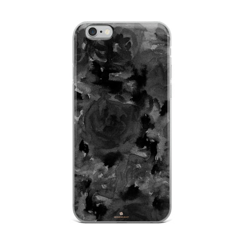 Gray Floral Print iPhone Case, Abstract Rose Floral Print iPhone Cellphone Phone Case-Phone Case-iPhone 6 Plus/6s Plus-Heidi Kimura Art LLC