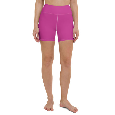 Hot Pink Women's' Yoga Shorts, Sporty Soft Comfy Elastic Tights-Made in USA/EU-Heidi Kimura Art LLC-XS-Heidi Kimura Art LLC Hot Pink Women's Yoga Shorts, Pink Solid Color Premium Quality Women's High Waist Spandex Fitness Workout Yoga Shorts, Yoga Tights, Fashion Gym Quick Drying Short Pants With Pockets - Made in USA/EU (US Size: XS-XL)