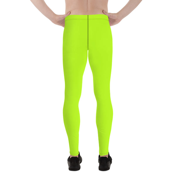 Hikari Lime Green Neon Men's Running Leggings & Run Tights Meggings Activewear- Made in USA/ Europe (Size: XS-3XL)