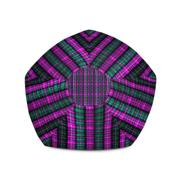 Classic Pink Green Plaid Tartan Print Water Resistant Polyester Bean Sofa Bag-Bean Bag-Heidi Kimura Art LLC