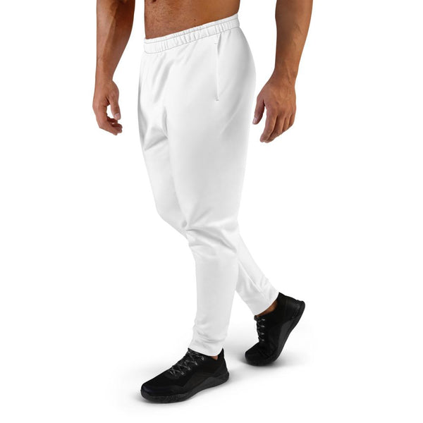 Bright White Solid Color Designer Premium Men's Fashion Joggers - Made in EU-Men's Joggers-Heidi Kimura Art LLC Bright White Men's Joggers, Bright Solid White Color Premium Quality Print Designer Ultra Soft & Comfortable Men's Joggers, Men's Jogger Pants, Casual Sweatpants-Made in EU (US Size: XS-3XL)