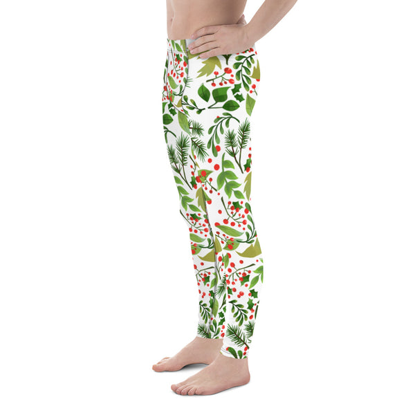 Christmas Meggings, Green Red Floral Print Running Leggings Tights For Men-Made in USA/EU-Men's Leggings-Heidi Kimura Art LLC