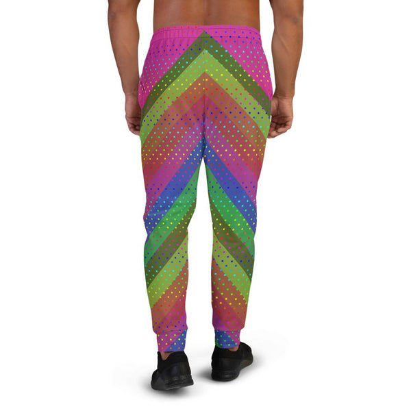 Funky Hot Pink Faded Rainbow Stripe Polka Dots Print Fun Men's Joggers - Made in EU-Men's Joggers-Heidi Kimura Art LLC Pink Rainbow Men's Joggers, Funky Hot Pink Faded Rainbow Stripe Polka Dots Print Rave Party Designer Ultra Soft & Comfortable Men's Joggers, Men's Jogger Pants-Made in EU (US Size: XS-3XL)