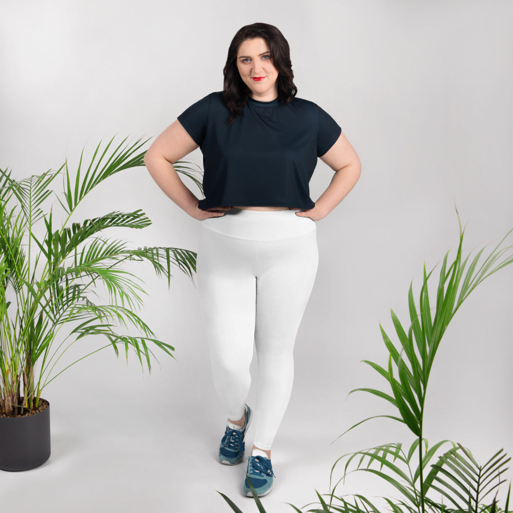 White Color Women's Leggings, Plus Size Long Yoga Pants -Made in USA (US Size: 2XL-6XL)-Women's Plus Size Leggings-2XL-Heidi Kimura Art LLC