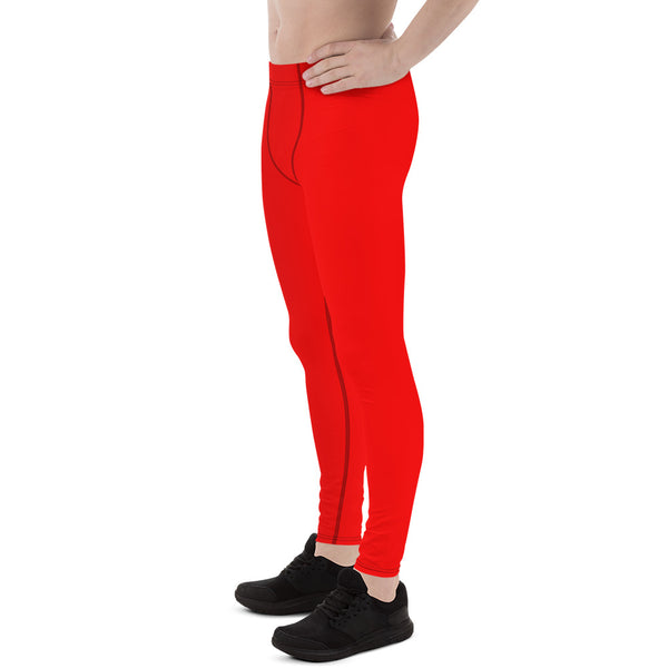 Red Hot Solid Color Men's Running Leggings Meggings Activewear- Made in USA/EU-Men's Leggings-Heidi Kimura Art LLC