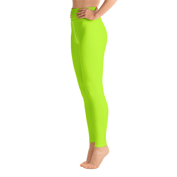 Women's Neon Green Solid Color Active Wear Fitted Leggings Sports Long Yoga Pants-Leggings-6XL-Heidi Kimura Art LLC Neon Green Women's Leggings, Women's Neon Green Solid Color Active Wear Fitted Sports Leggings Sports Long Yoga & Barre Pants - Made in USA/EU (US Size: XS-6XL)