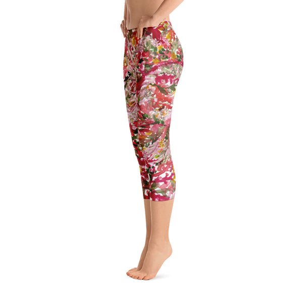 Fall Red Floral Capri Leggings Casual Fashion Activewear - Made in USA (US Size: XS-XL)-capri leggings-Heidi Kimura Art LLC