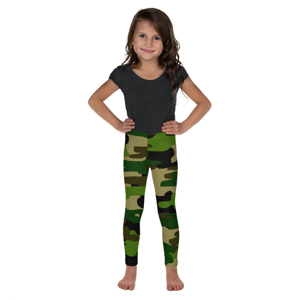Camouflage Military Print Green Print Kid's/ Girl's Leggings Tights (2T-7) Made in USA/EU-Kid's Leggings-2T-Heidi Kimura Art LLC