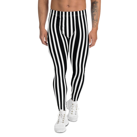 Vertical Stripes Print Men's Leggings, Essential Premium Striped Meggings-Heidikimurart Limited -Heidi Kimura Art LLC Vertical Stripes Print Men's Leggings, Essential Premium White And Black Modern Vertically Stripes Sexy Meggings Men's Workout Gym Tights Leggings, Men's Compression Tights Pants - Made in USA/ EU/ MX (US Size: XS-3XL)