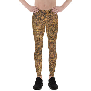 Brown Leopard Men's Leggings, Animal Print Meggings Compression Tights-Made in USA/EU-Heidi Kimura Art LLC-XS-Heidi Kimura Art LLC Brown Leopard Meggings, Animal Print Premium Elastic Comfy Men's Leggings Fitted Tights Pants - Made in USA/EU (US Size: XS-3XL) Spandex Meggings Men's Workout Gym Tights Leggings, Compression Tights, Kinky Fetish Men Pants