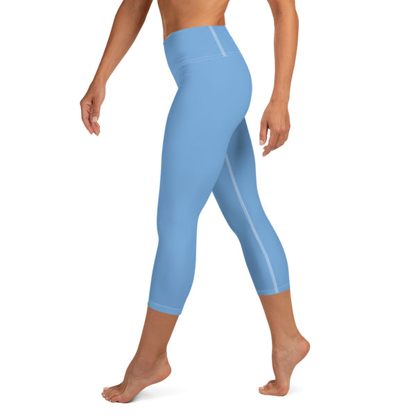 Baby Blue Premium Bridesmaid Designer Women's Yoga Capri Leggings-Made in USA