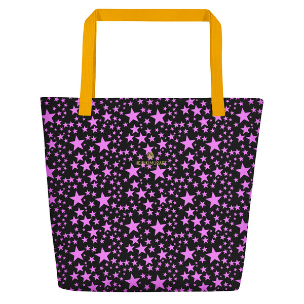 "Black Pink Star Pattern Print Designer Large 16""x20"" Beach Shopping Bag- Made in USA/EU-Beach Tote Bag-Yellow-Heidi Kimura Art LLC"