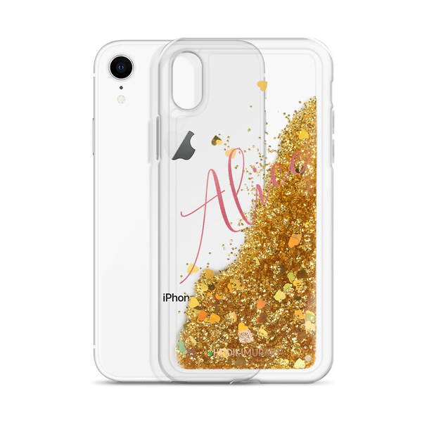Pink Foil Custom Name Designer Shiny Liquid Glitter Phone Case-Made in USA-Phone Case-Gold-iPhone XR-Heidi Kimura Art LLC