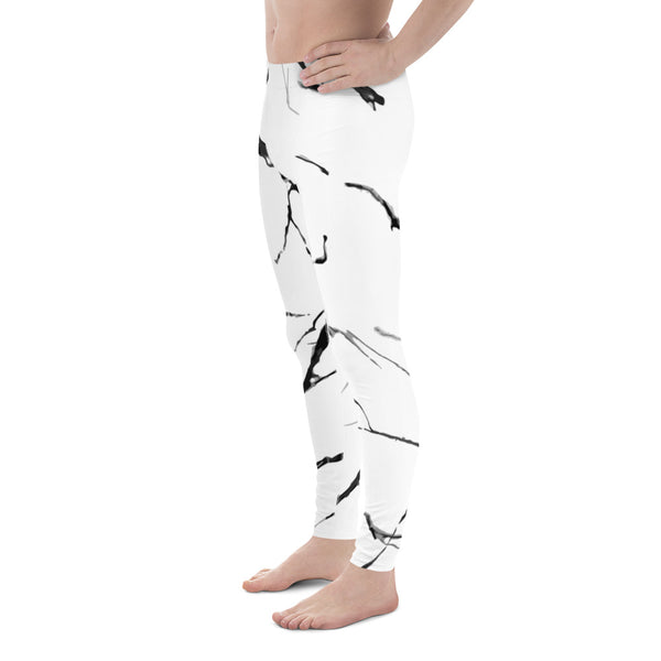 Sarushima White Gray Marble Texture Sexy Men's Leggings Workout Compression Tights Meggings- Made in USA (US Size: XS-3XL)