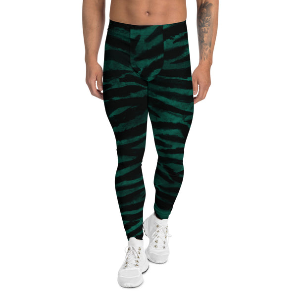 Green Tiger Stripes Men's Leggings-Heidikimurart Limited -XS-Heidi Kimura Art LLC