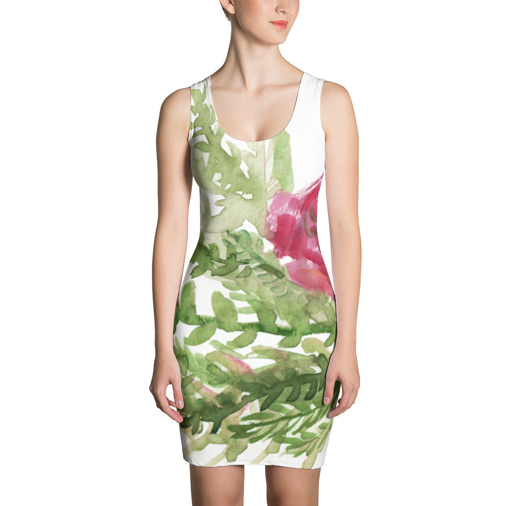 White Green Red Spring Rose Floral Print Long Sleeveless Women's Dress-Made in USA/EU-Women's Sleeveless Dress-XS-Heidi Kimura Art LLC