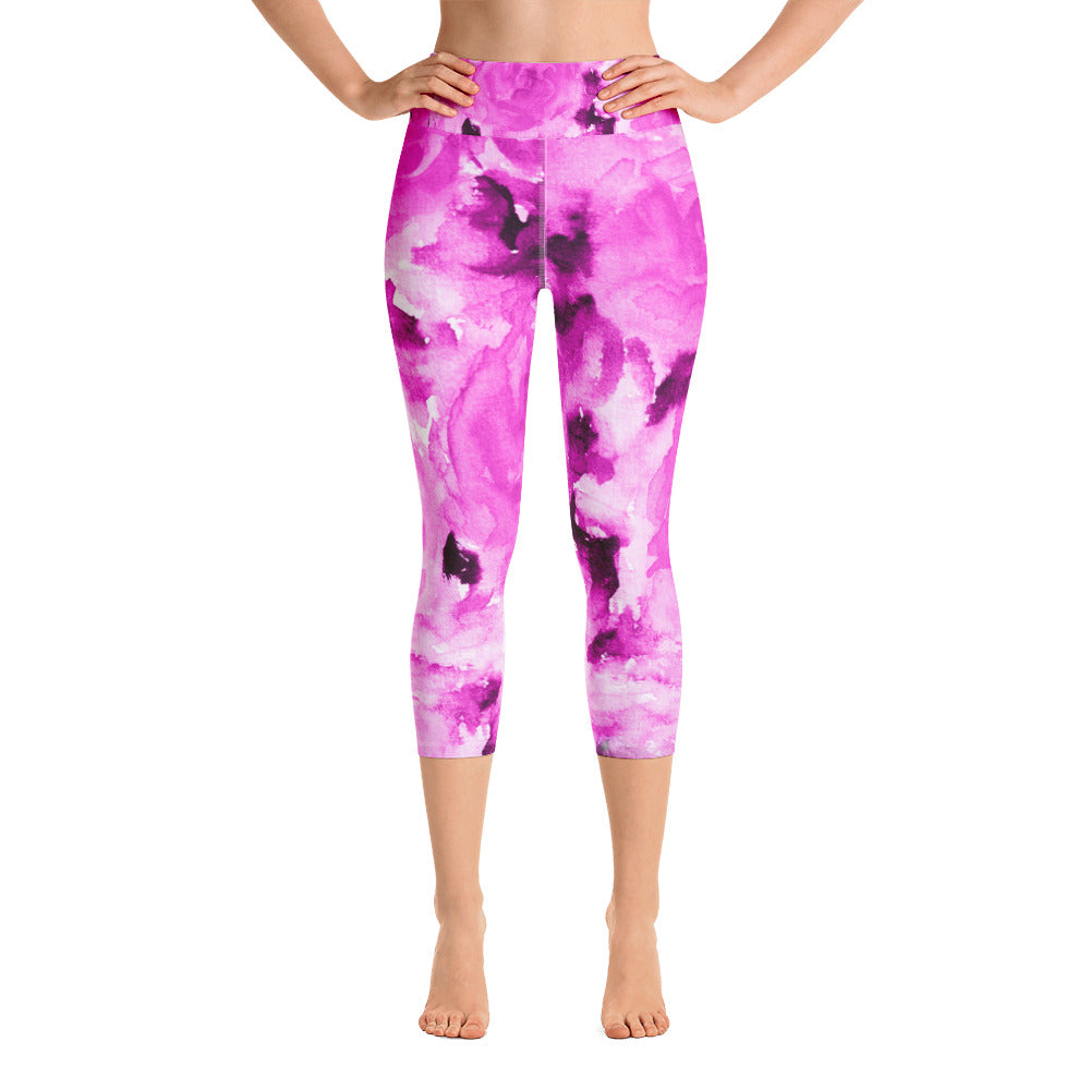 Pink Floral Print Women's Yoga Capri Pants Leggings With Pockets- Made In USA-Capri Yoga Pants-XS-Heidi Kimura Art LLC