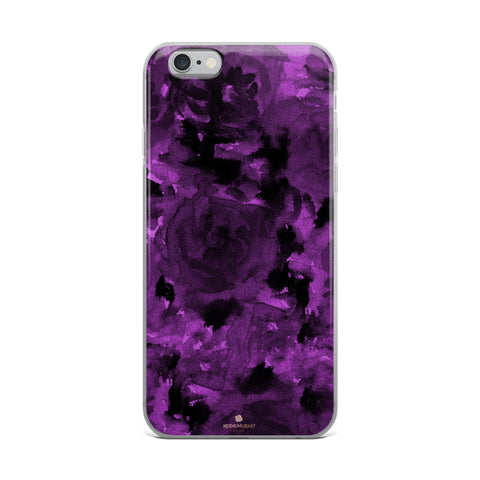 Deep Royal Purple Rose Floral Print, iPhone X | XS | XR | XS Max | 8 | 8+ | 7| 7+ |6/6S | 6+/6S+ Case- Made in USA