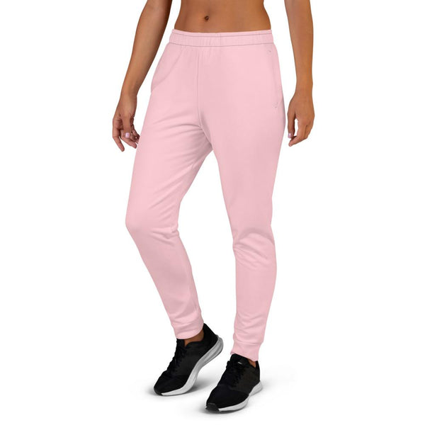 Light Pink Solid Color Print Designer Women's Joggers Slim Fit Sweatpants-Made in EU-Women's Joggers-Heidi Kimura Art LLC Light Pink Women's Joggers, Light Ballet Pink Solid Pastel Color Premium Printed Slit Fit Soft Women's Joggers Sweatpants -Made in EU (US Size: XS-3XL) Plus Size Available, Solid Coloured Women's Joggers, Soft Joggers Pants Womens