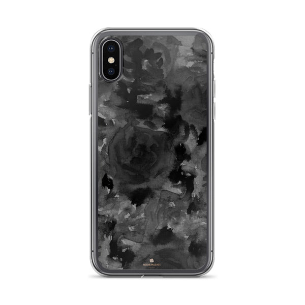 Gray Floral Print iPhone Case, Abstract Rose Floral Print iPhone Cellphone Phone Case-Phone Case-iPhone X-Heidi Kimura Art LLC