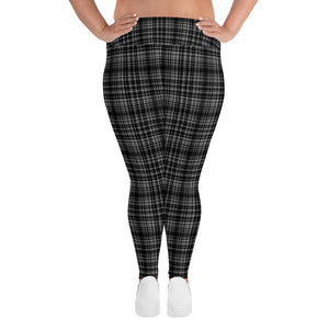 Black Plaid Print Women's High Rise Ankle Length Plus Size Leggings-Made in USA-Women's Plus Size Leggings-2XL-Heidi Kimura Art LLC