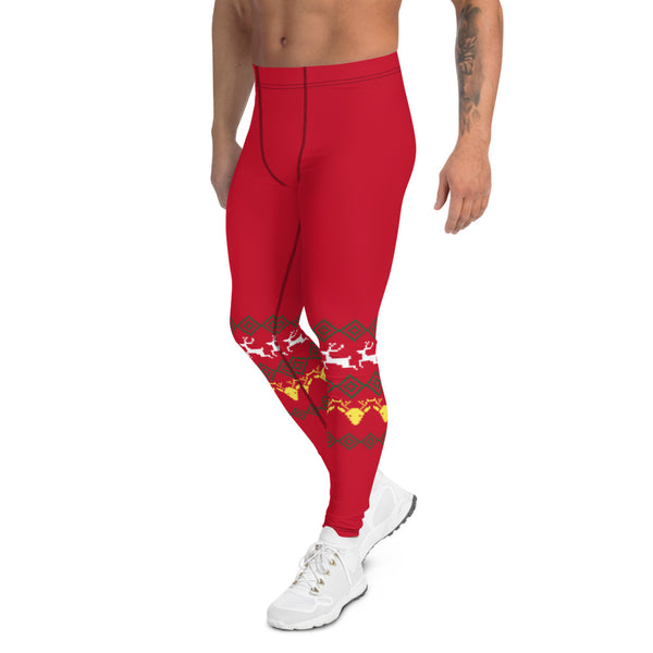 Christmas Festive Reindeer Meggings, Red Xmas Designer Men's Leggings-Heidikimurart Limited -Heidi Kimura Art LLC Christmas Festive Reindeer Meggings, Red Xmas Party Holiday Men's Leggings, Designer Premium Quality Men's Workout Gym Tights Leggings, Men's Compression Tights Pants - Made in USA/ EU/ MX (US Size: XS-3XL)