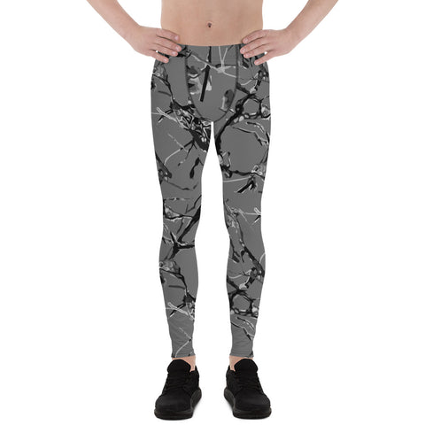 Gray Marble Print Meggings, Premium Compression Men's Running Tights- Made in USA/EU-Men's Leggings-XS-Heidi Kimura Art LLC