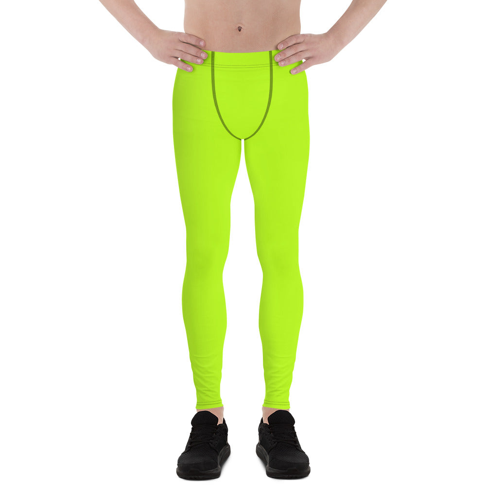 Lime Green Neon Print Men's Leggings, Running Meggings Activewear- Made in USA/EU-Men's Leggings-XS-Heidi Kimura Art LLC
