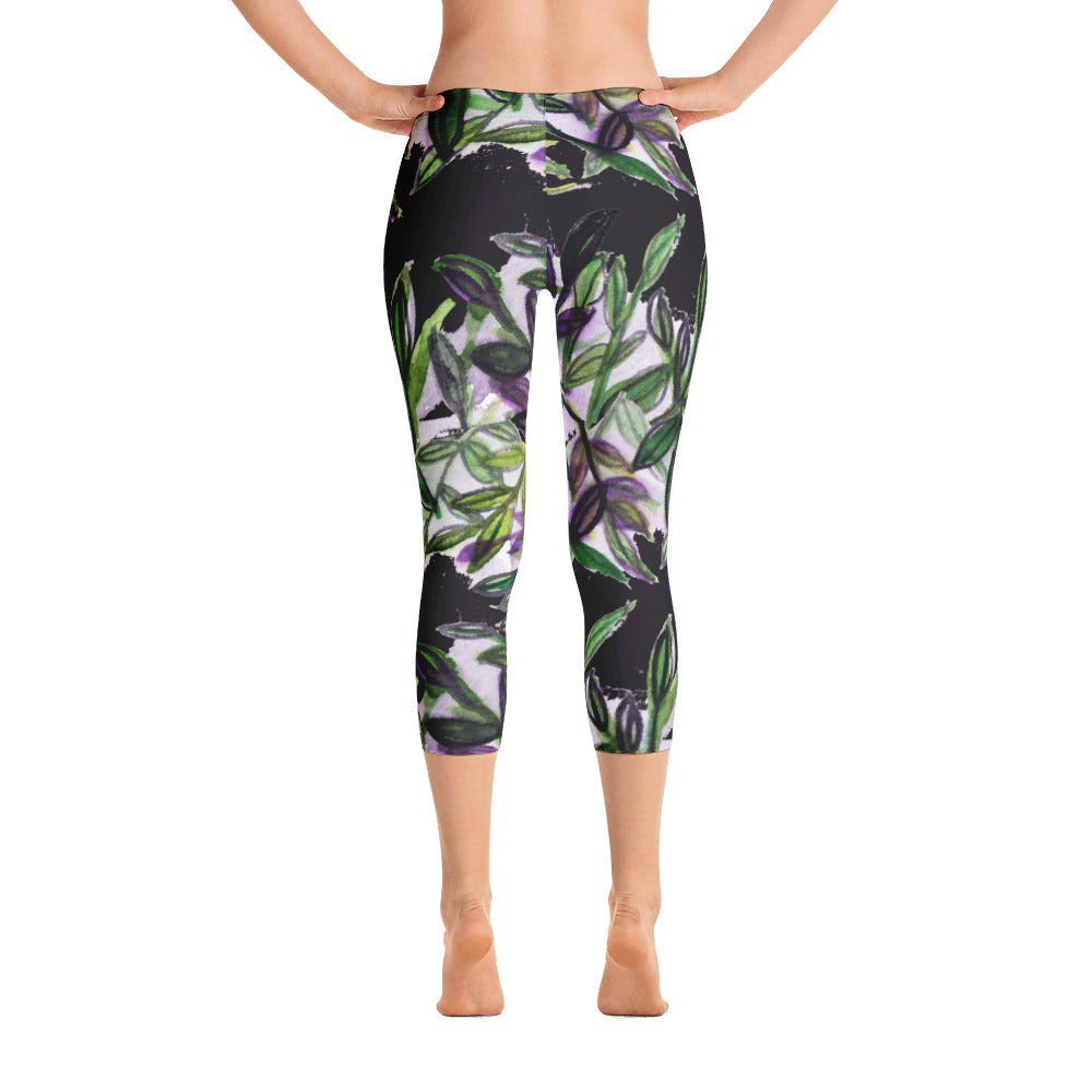 Black Tropical Leaves Print Designer Capri Leggings Athletic Activewear - Made in USA-capri leggings-XS-Heidi Kimura Art LLC Black Tropical Leaf Capris, Black Green Purple Tropical Leaves Print Designer Capri Leggings Athletic Activewear - Made in USA/EU (US Size: XS-XL)