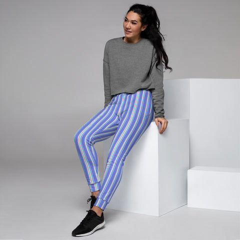 Pastel Blue Striped Women's Joggers, Vertical Stripes Circus Slit Fit Soft Women's Joggers Sweatpants -Made in EU (US Size: XS-3XL) Plus Size Available, Women's Joggers, Soft Joggers Pants Womens, Women's Long Joggers, Women's Soft Joggers, Lightweight Jogger Pants Women's, Women's Athletic Joggers, Women's Jogger Pants
