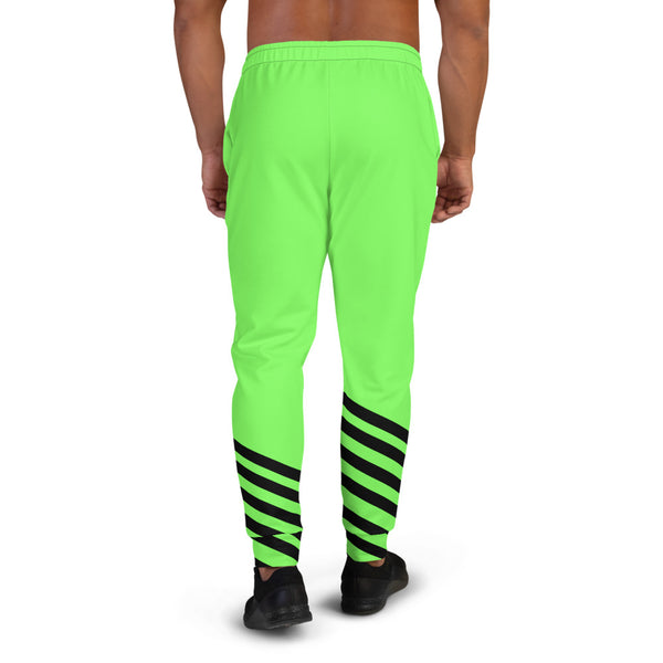 Bright Neon Green Black Stripe Print Fashion Rave Party Men's Joggers - Made in EU-Men's Joggers-Heidi Kimura Art LLC