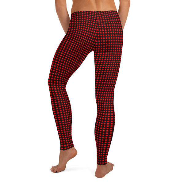 Buffalo Red Plaid Print Leggings, Best Christmas Party Long Tights, Women's Dressy Marble Women's Long Dressy Casual Fashion Leggings/ Running Tights - Made in USA/ EU/ MX (US Size: XS-XL)