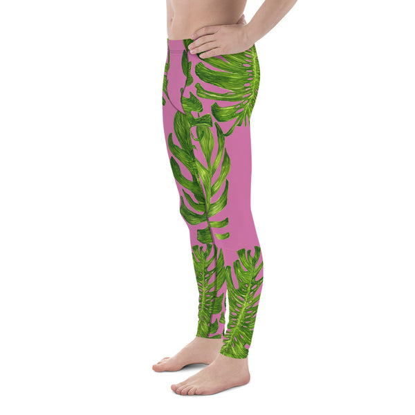 Light Pink Tropical Leaf Print Men's Premium Leggings-Made in USA/EU (US Size: XS-3XL)-Men's Leggings-Heidi Kimura Art LLC
