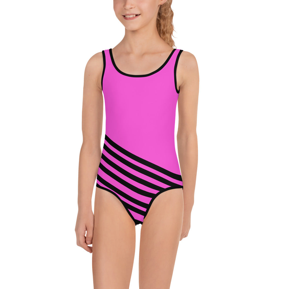 Pink + Black Diagonally Striped Print Girl's Cute Premium Kids Swimsuit- Made in USA-Kid's Swimsuit (Girls)-2T-Heidi Kimura Art LLC Pink Striped Girl's Swimsuit, Pink + Black Diagonally Striped Print Girl's Cute Premium Kids Swimsuit Bathing Suit - Made in USA/ Europe (US Size: 2T-7)