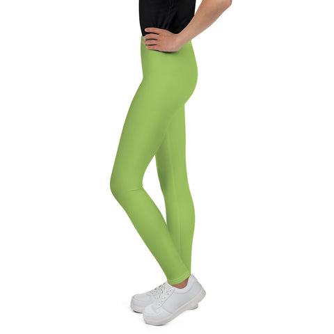 Light Green Solid Color Premium Youth Leggings Gym Sports Tights - Made in USA/EU-Youth's Leggings-Heidi Kimura Art LLC