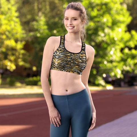 Brown Tiger Stripe Sports Bra, Women's Animal Print UnPadded Fitness Bra, Women's Unpadded Sports Workout Bra - Made in USA/EU (US Size: XS-2XL) Plus Size Is Available